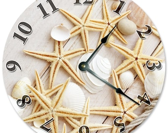 "STARFISH And SEA SHELLS Clock - Large 10.5"" Wall Clock - 2105"