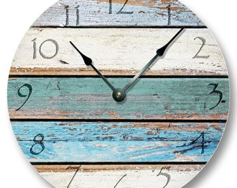 """WEATHERED BEACHY BOARDS Wall Clock - Rustic Clock - Large 10.5"""" Wall Clock - Round Wall Clock - Barn Clock - Cabin Country Decor"""