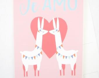 Te Amo Llama postcard, 5 x 7 Blank Note card, I love you, Spanish, wedding, anniversary, couple, Valentine's Day, heart, animal illustration
