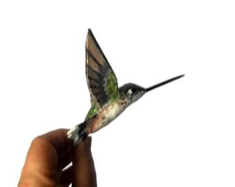 Hummingbird art Paper mache Sculpture Bird Ornament