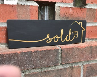 Realtor Sold Sign - Photo Prop -New home buyer - 3.5x11 - wood sign - black and gold - black and Silver - Brokers - Sold sign - new home