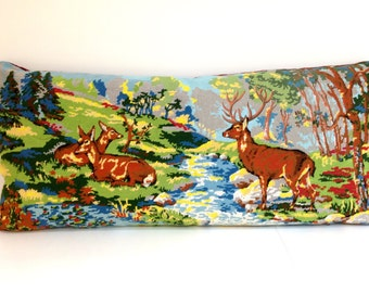 French Needlepoint Pillow Deer Stag