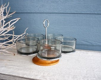Vintage Mid Century Modern Teak Condiment Bowl Set, Revolving Caddy, Smoked Glass Bowls