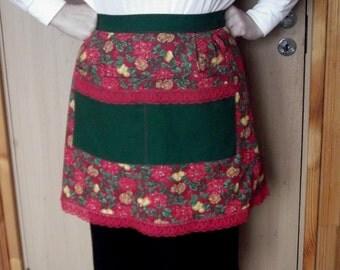 Half Apron Cotton Apron  Women Waist Apron Lace Poinsettia Gift for Mom