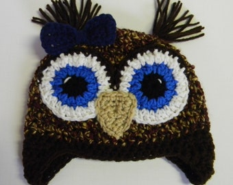 Crochet Owl Hat - Your Eye Color Choice