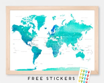 World Map Art Print Poster Countries Names Watercolor - Travel Map World Map - Pin Trip Adventures, Summer Gift Idea  - Medium - XLARGE
