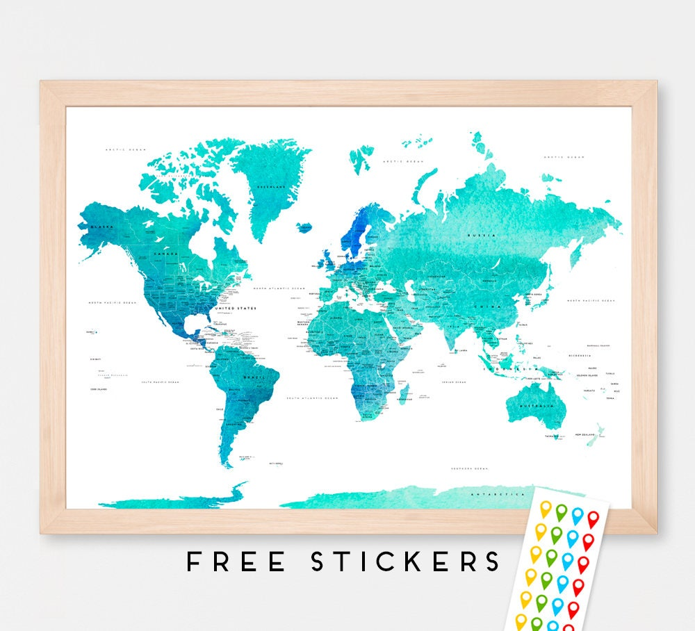 World map continents black and white best photos of printable the world map wall art etsy world map usa and uk gumiabroncs Image collections