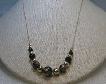 """14Kt Gold Cloisonne Beaded Necklace, 24"""", Black & Gold Beads, 5.45 grams, Asian Themed"""