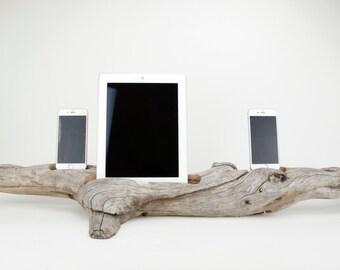 Docking Station, iPad docking station, iPhone Charger, iPhone docking Station, iPad dock, iPad 4, iPad, wood iPhone dock/ Driftwood-No. 945
