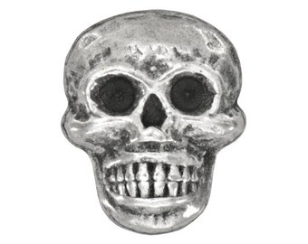 6 Scary Skull 11/16 inch ( 17 mm ) Metal Buttons Antique Silver Color
