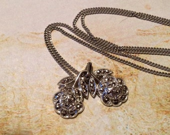 HOLIDAY SAVINGS Marcasite Rose Necklace Sterling Silver