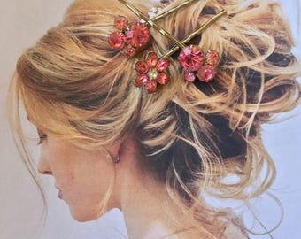 Decorative Hair Pins Bridal Jewelry 1950's Pink Rhinestone, Set of 3