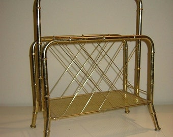 Vintage Mid Century Bamboo Design Brass Magazine Holder