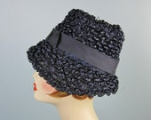 Blue Cloche Hat / Vtg 60s...