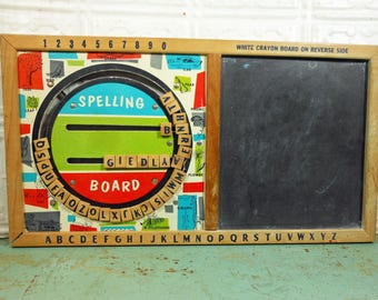 vintage 1950s spelling counting board with chalkboard learning toy from bar zim