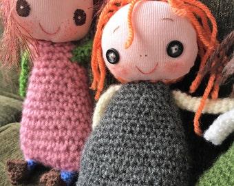 stuffed toy doll,rag doll, smiling plush toy Marjorie. gift for little girls.