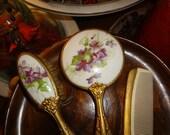 Child's porcelain vanity set with darling violet motif transferware
