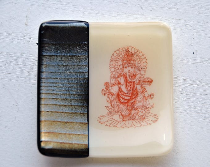 Iridescent Ganesh/Ganesha Mini Fused Glass Dish