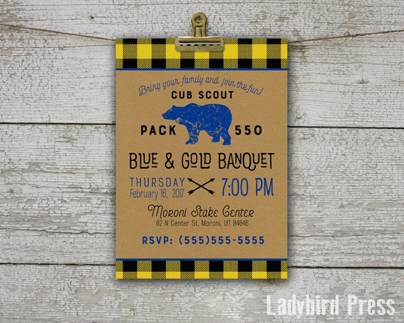 Printable blue and gold banquet invitation cub scouts for Cub scout blue and gold program template