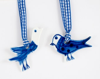 Set of two (2) handpainted Delft blue - blue and white folk, minimalist birds  Christmas decorations tree ornaments