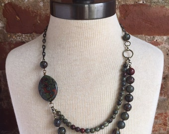 Asymmetrical dragons blood jasper necklace // asymmetrical stone necklace