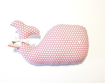 Whale Pillow, Whale Plush, Whale, Nautical Baby Gift, Nursery Decor, Nautical Nursery, Hot Pink Whale