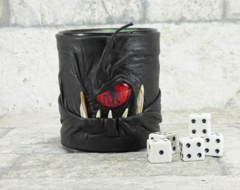 Dice Cup Pencil Cup Desk Accessory With Face Monster Black Leather LARP RPG Harry Potter MTG
