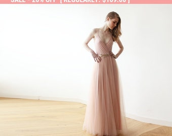 20% OFF Pink tulle maxi dress, Bridesmaids pink straps maxi gown, Fairy tulle maxi dress 1053