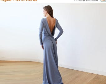 30% OFF - Blush Birthday Open back maxi Dusty blue dress with long sleeves , Backless maxi dusty blue gown 1041