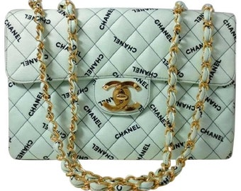 Vintage CHANEL mint green canvas logo print classic 2.55 jumbo purse with logos. Rare masterpiece