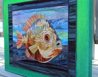 Blue Gill, art quilt on canvas, home decor
