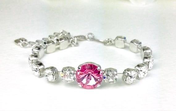 Swarovski Crystal 12MM & 6mm Bracelet - Lt. Rose and Crystal Clear    Designer Inspired - SALE now 25. - FREE SHIPPING