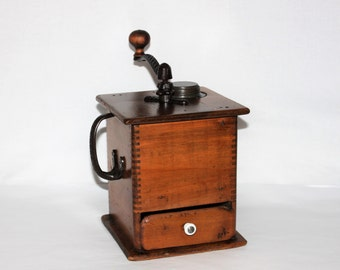 Antique 1905 Wooden Coffee Grinder, Coffee Mill
