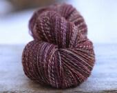 """Handspun Yarn Sport Weight Mixed BFL/Silk  """"Crunch""""  285 yds."""