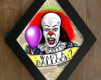 Pennywise from IT diamond framed print