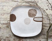 Ceramic Plate - Square Plate - Pottery Plate - Rustic Plate - Large Plate - Abstract Plate