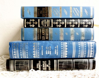Vintage BLACK BLUE Book COLLECTION, Decorative Book Set of 5 with Gold Decorations. 1960s and 1970s.