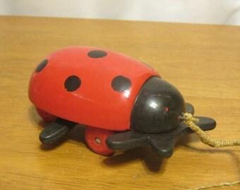 Vintage Brio Wooden Ladybug Pull Toy, Swedish Pull Toy