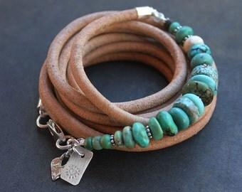 Turquoise boho Bracelet - Sundance style turquoise leather and sterling silver bracelet multi-wrap gypsy heart