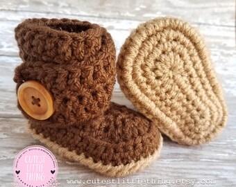 Baby Boy Booties, Crochet Boy Booties, Crochet Baby Boots, Crochet Baby UGG, Crochet Booties, Baby Boy, UGG, Brown Baby boots