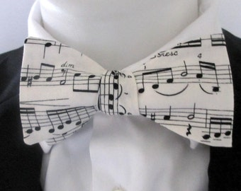 Mens bowtie  - music lovers bowtie - self tie or pre tied bowtie