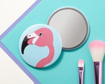 Miss Flamingo Pocket Mirror - Small Mirror - Hand Mirror - Handbag Mirror