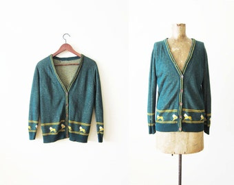 Vintage Cardigan / Womens Green Cardigan Sweater / Novelty Lion Print / 70s Clothing / Cardigan Small