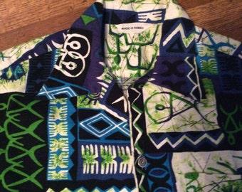 Vintage Bark Cloth Hawaiian Shirt / Vintage Hawaiian Shirt / Awesome Hawaiian Shirt / men's Small or Medium