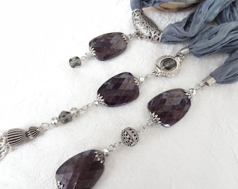 Dark Grey Jewelry,Jewelry Scarf,Scarf Necklace,Turkish Silk Necklace,Crystal Beads Scarf,Summer Fashion,Elegance Scarf,Mother's day Gifts