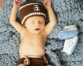 Newborn Football Hat and Diaper Cover Set ,Baby Boy Hat,Coming Home Outfit,Newborn Boy Clothes,Newborn Boy Photo Prop,Made To Order