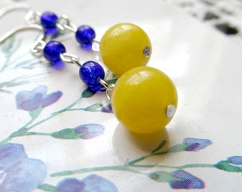 Yellow and Cobalt Blue Dangle Drop Earrings on Silver Plated or Sterling Hooks