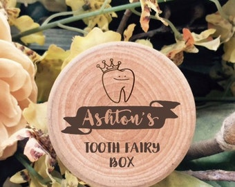 Funky tooth fairy box with name and fairy holding tooth. Perfect keepsake box for all baby teeth. Great birthday gift.
