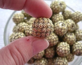 Gold Rhinestone Bead, 10 pcs, Quilted Rhinestone, 16mm Bumpy Chunky Necklace Bead, Disco Ball Bead, Gumball Beads, Bubblegum Bead