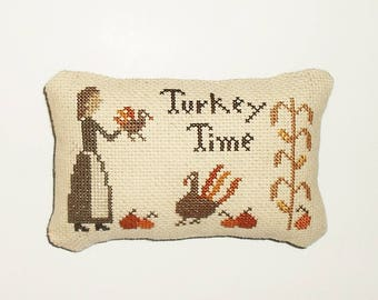 Completed Cross Stitch Turkey Primitive Thanksgiving Pinkeep Pillow Tuck